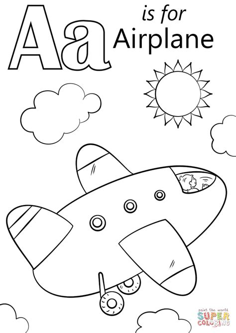 A Is For Airplane Coloring Page letter a is for airplane coloring page free printable