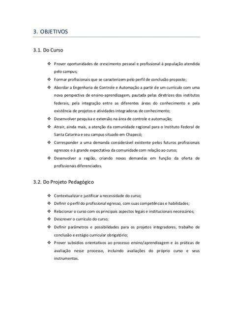 Projeto Pedagógico Engenharia de Controle e Automação IFSC