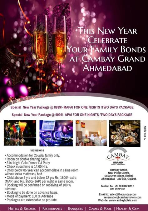 new year packages 2016 new year packages with room stay cambay hotels resorts