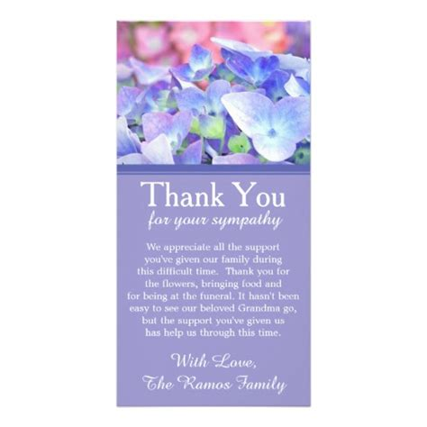 thank you letter sympathy gift hydrangeas bereavement sympathy thank you card photo card