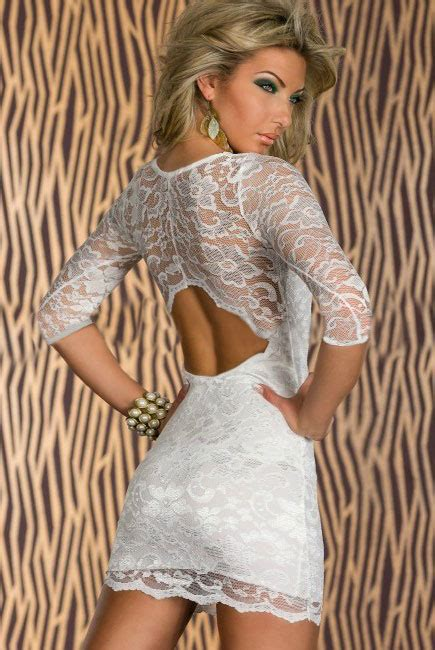 24325 Brown Back Lace Summer Dress back key boat neck three quarter sleeves white