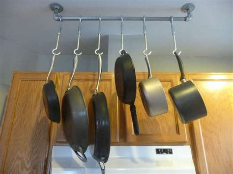 Thing To Hang Pots And Pans On Hang Pots And Pans On A Pipe Well Aren T You Clever