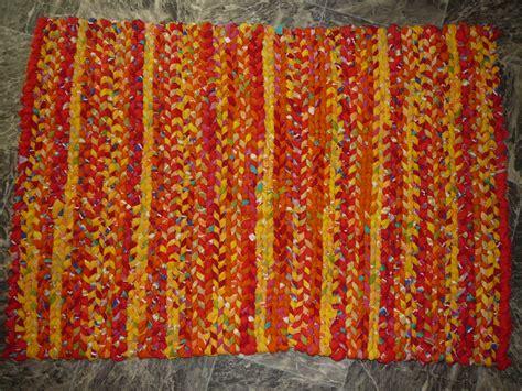 orange rag rug twined rag rug yellow orange rustic and