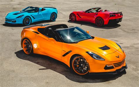 widebody corvette c7 three bright widebody c7 corvettes are out of this world