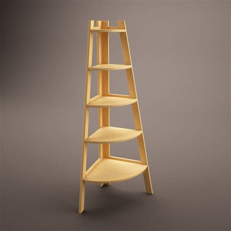 wooden corner shelf 3d c4d