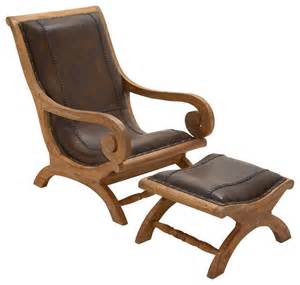 Leather And Wood Chair With Ottoman Design Ideas Wood And Leather Chair And Ottoman Traditional Armchairs And Accent Chairs By Gwg Outlet