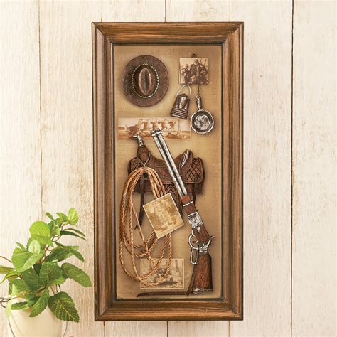 western themed shadow box wall saddle rope gun
