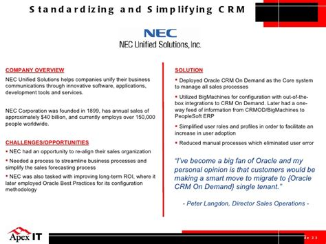 Insead Mba Eligibility Criteria by Apex It Presents Oracle Crm On Demand Sales And Marketing