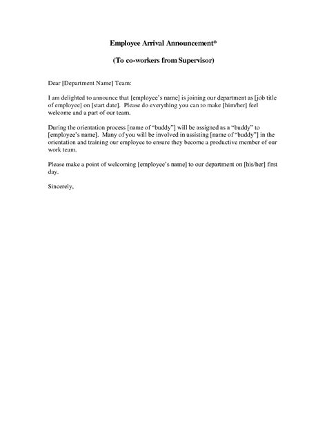 New Employee Announcement Letter This Sle New Employee Introduction Letter Welcomes Your New Employee Announcement Template