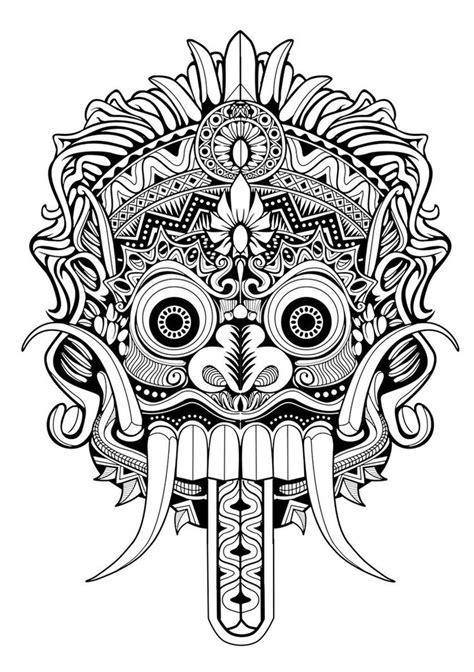 image result  barong mask drawing seni tato sketsa