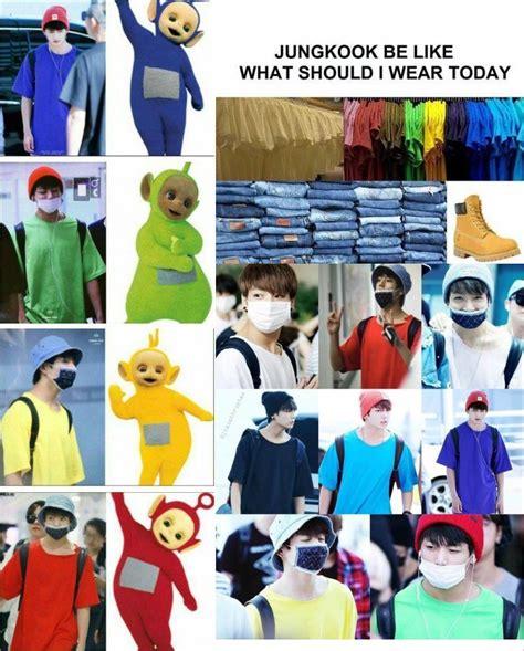 Celana Jin Bts Melorot punya kaos sama beda warna jongkook bts dibilang teletubbies oleh netter kabar berita