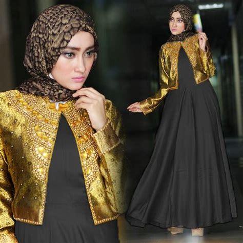 Baju Pesta Muslim Warna Gold baju pesta a215c satin payet busana muslim dian pelangi