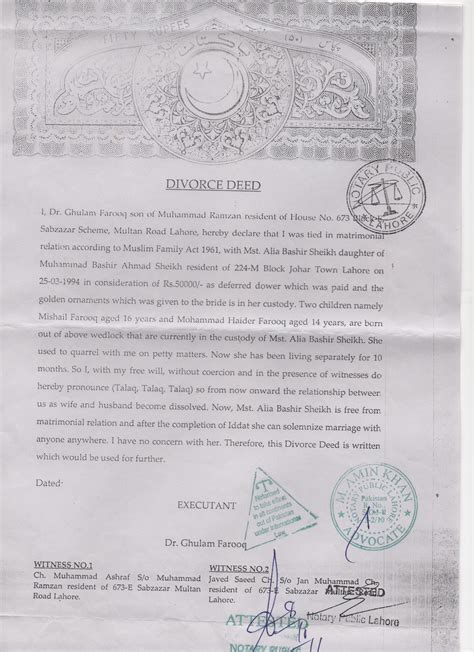 Divorce Letter Format Pakistan Divorce