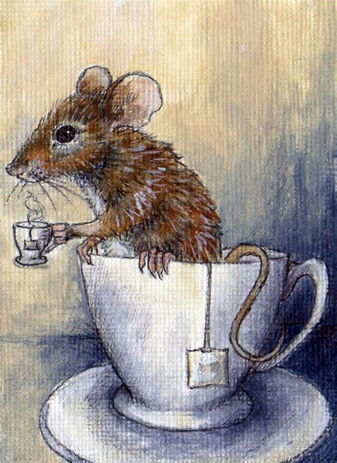 mouse drinking tea in a tea cup by glait on deviantart