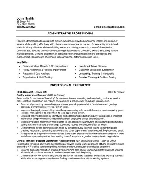 administrative resume template professional administrative assistant resume sle