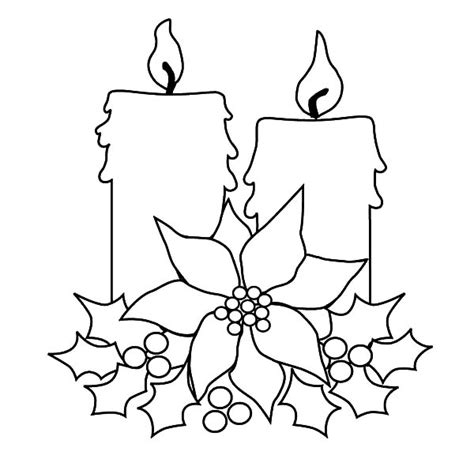 Christmas Tree With Candles Coloring Page | christmas candle for decorating christmas tree coloring
