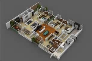 house design plans 3d 4 bedrooms 4 bedroom apartment house plans