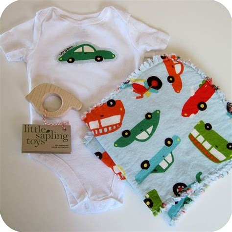 Handmade Baby Boy Gifts - diy appliqued onesie burp cloths changing pad and