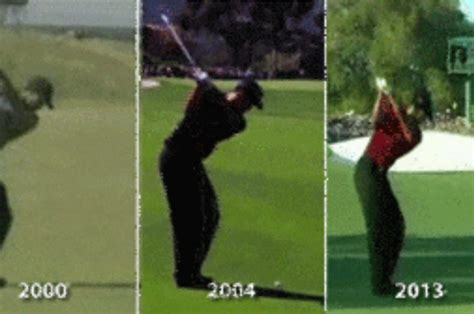 tiger woods swing 2013 the evolution of tiger woods golf swing in one gif