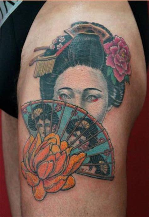 geisha tattoo with fan geisha fan tattoo by skin deep art japanese style best