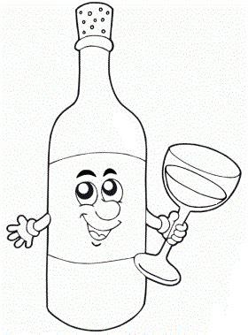 disegni di bicchieri disegni da colorare bottiglia di vino con bicchiere