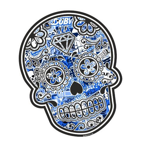 Butterfly Wall Sticker mexican day of the dead sugar skull with blue tinited