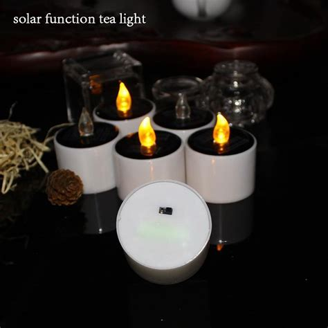 Set Of 6 Yellow Solar Power Led Candles Flameless Solar Tea Lights