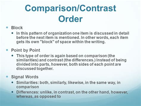 contrast pattern of organization words organizational patterns ppt video online download