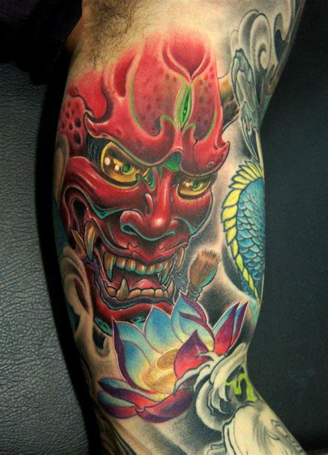 hannya mask tattoo 3d japanese hannya with flower on right half