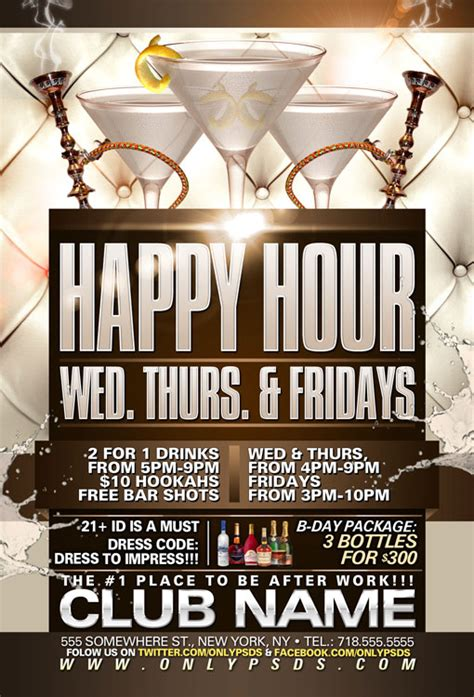 Happy Hour Template happy hour flyer template psd templates onlypsds