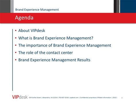 brand experience management sally hurley vipdesk 093010
