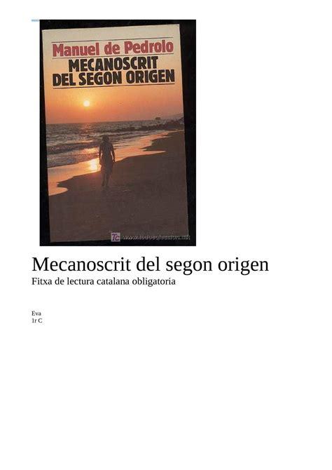 mecanoscrit del segon origen calam 233 o el mecanoscrit del segon origen
