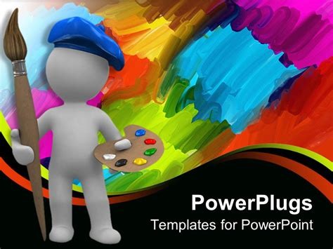 Powerpoint Template Abstract Artist With Paintbrush And Palette Abstract Paint Background 22980 Artistic Powerpoint Templates