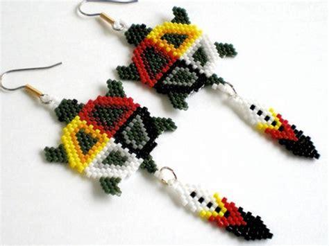 step by step how to make american beaded earrings medicine turtle earrings american inspired brick