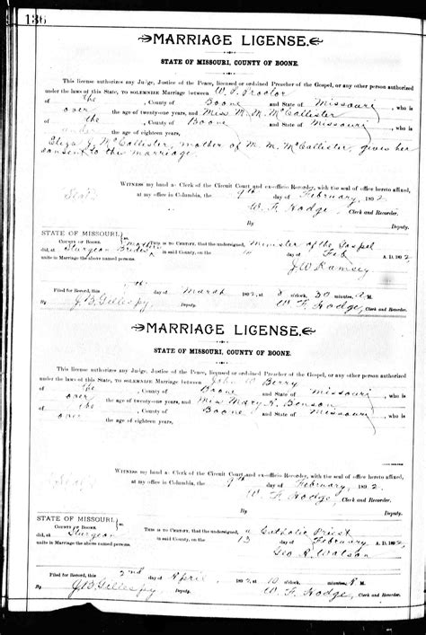 Missouri Marriage Records 1805 2002 William Berry