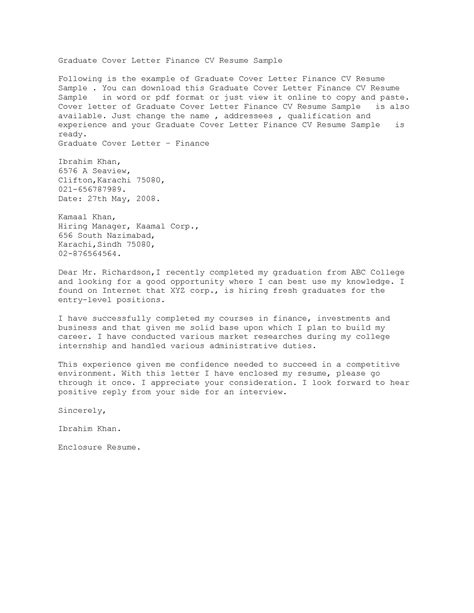 exle cover letter for resume fresh graduate docoments