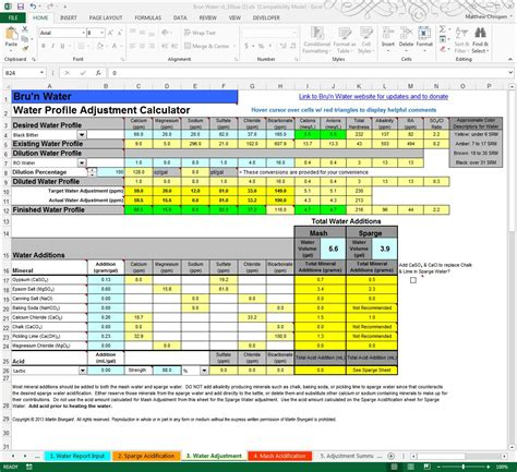 Brewing Spreadsheet by Bru N Water Free Spreadsheet 1 16 Walkthrough