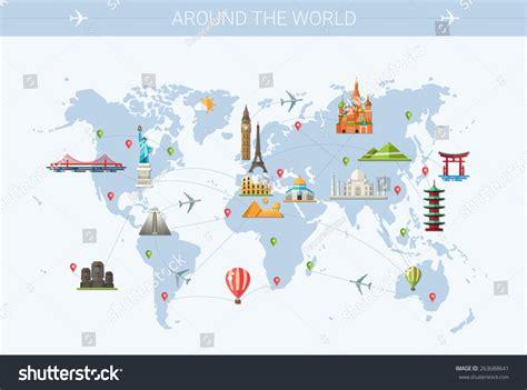 map world mouments illustration vector flat design postcard stock