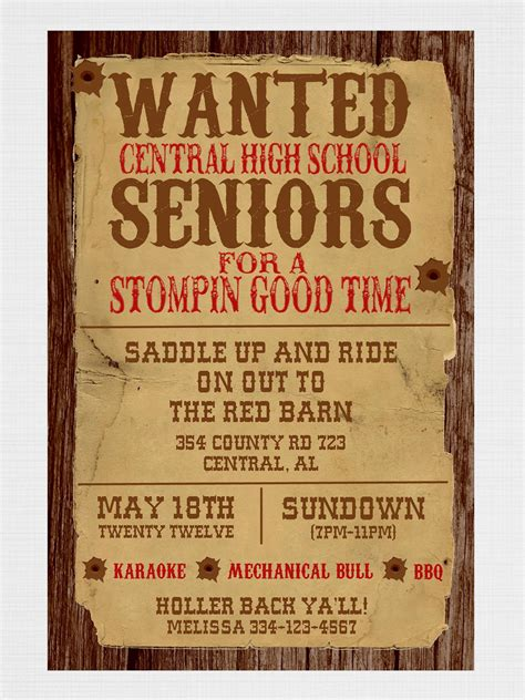 wanted poster western party invitation by graysgraphicdesigns