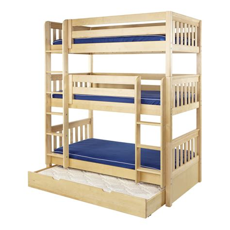 bunk beds pictures maxtrix holy triple bunk bed in natural with slat bed ends