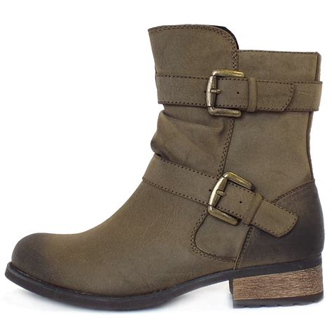lotus avon biker style boots in olive green mozimo