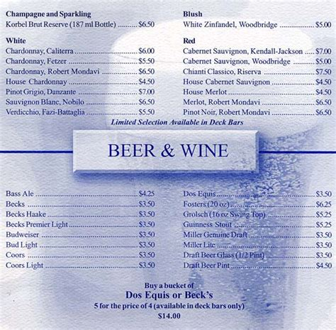 Cruiseclues Princess Cruises Star Princess Bar Menus, Drink Prices, Beverage Lists, Martini Bar