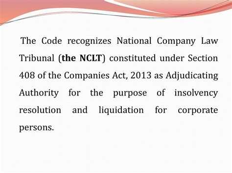 section 69 of partnership act role of nclt under the insolvency and bankruptcy code ppt