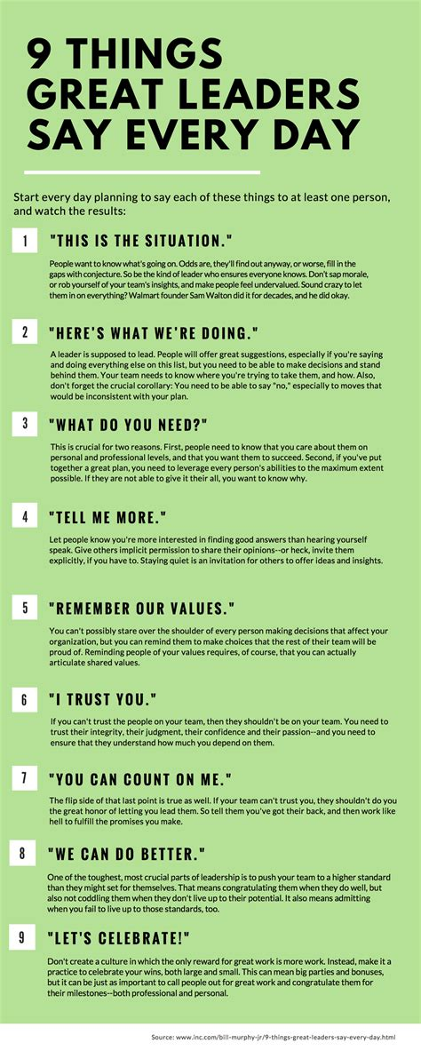 Things Every Day 9 things great leaders say every day and