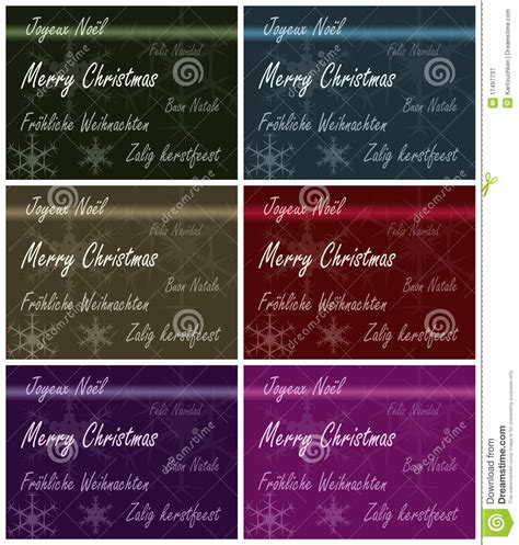 xmas card multiple languages stock illustration illustration  greeting decorative
