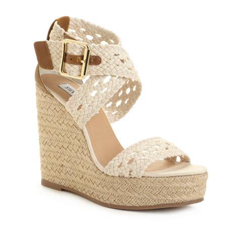 madden wedge sandals steve madden magestee wedge sandals in beige white lyst
