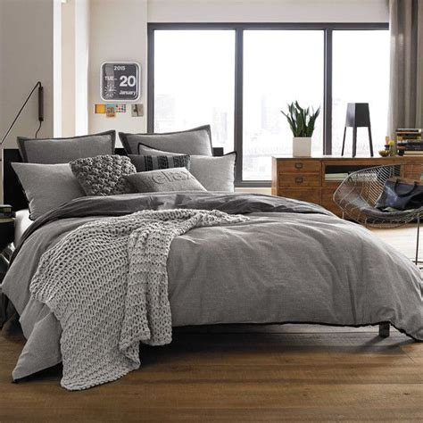 kenneth cole reaction home oxford comforter  grey stripe