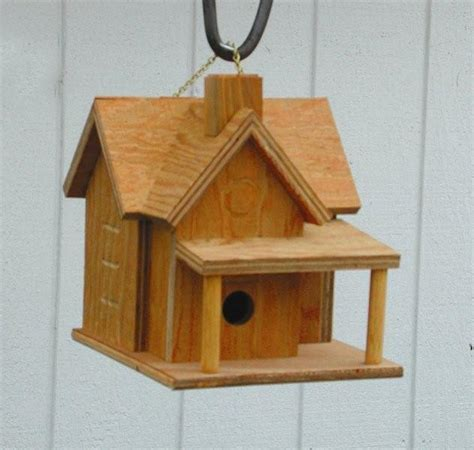 amish garden bird house with porch and chimney