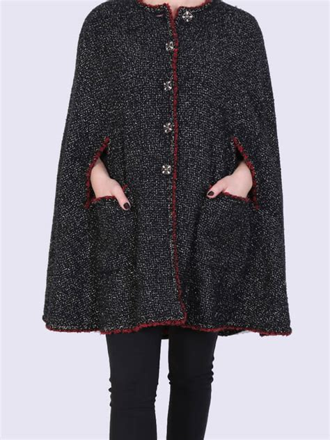 chanel metallic tweed cape coat black  luxury bags