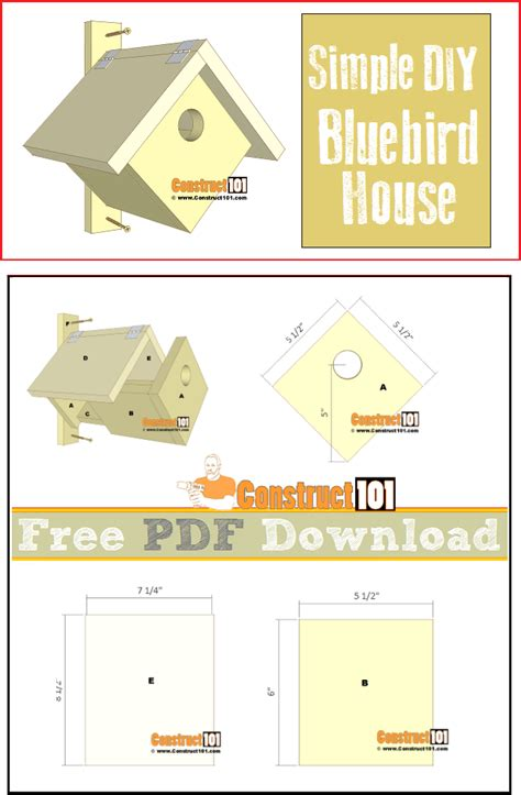 Simple Bluebird House Pdf Download Construct101 Bluebird House Plans Pdf